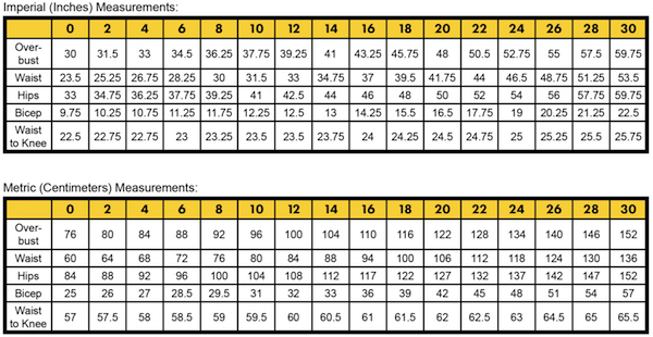 bClementine-ladies-measurement-chart