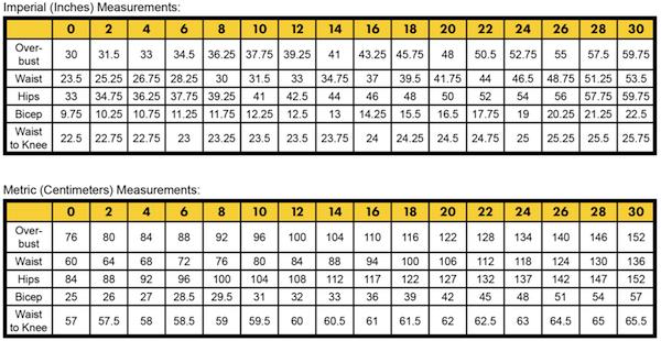 bClementine-ladies-measurement-chart